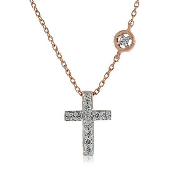Rose Gold Diamond Cross Pendant 14K