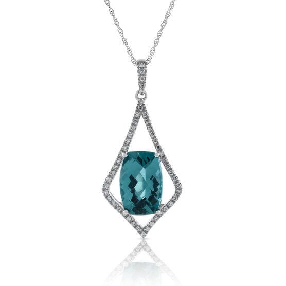 Apatite & Diamond Pendant 14K