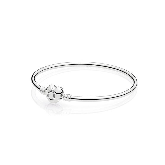 PANDORA Moments Silver Bangle, Logo Heart Clasp