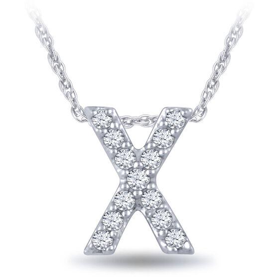 Diamond Initial Pendant 14K Letter 'X'
