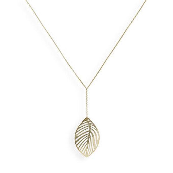Leaf Lariat Necklace 14K