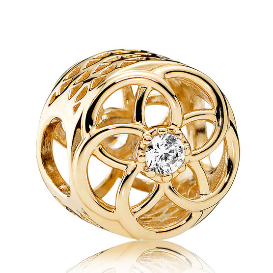 PANDORA Loving Bloom CZ Charm, 14K
