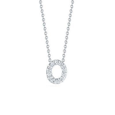 Roberto Coin Diamond Initial Pendant 18K Letter 'O'
