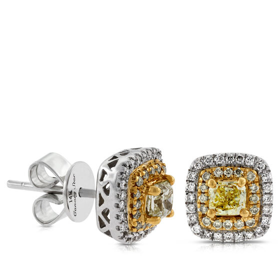 Yellow & White Diamond Earrings 14K