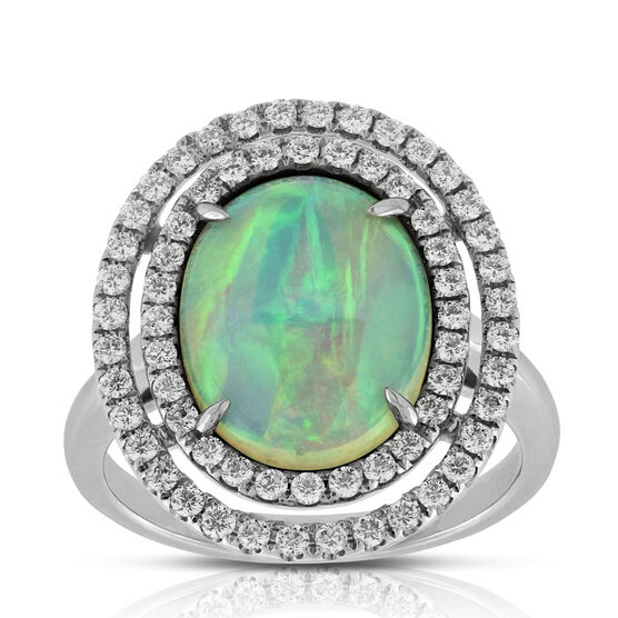 Double  Halo Opal & Diamond Ring 14K