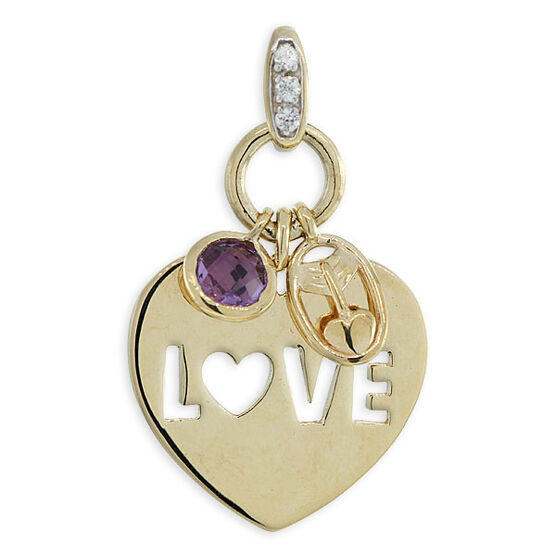 Amethyst & Sapphire Love Charm / Pendant 14K