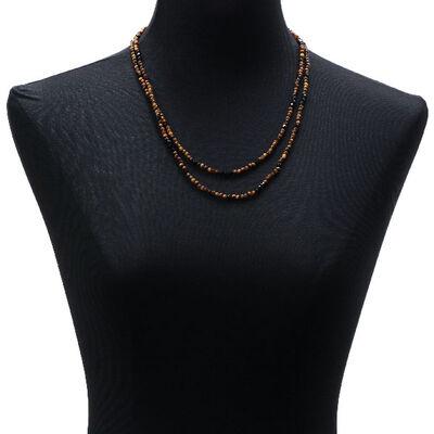 Lisa Bridge Tiger's Eye & Black Onyx Beaded Necklace