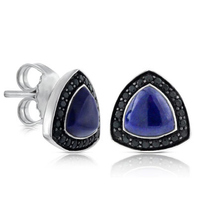 Lisa Bridge Lapis Lazuli & Black Sapphire Earrings