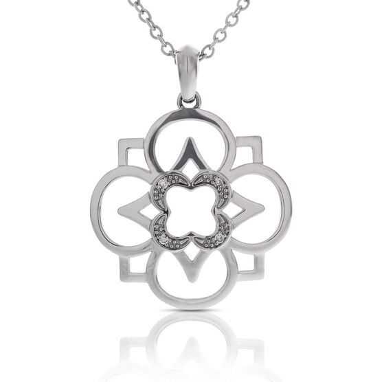 Diamond Flower Pendant in Sterling Silver