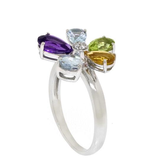 Flower Gemstone & Diamond Ring 14K