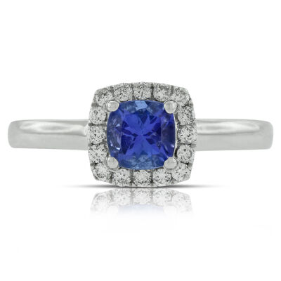 Cushion Tanzanite & Diamond Ring 14K