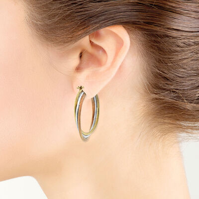 Tri-Color Hoop Earrings 14K