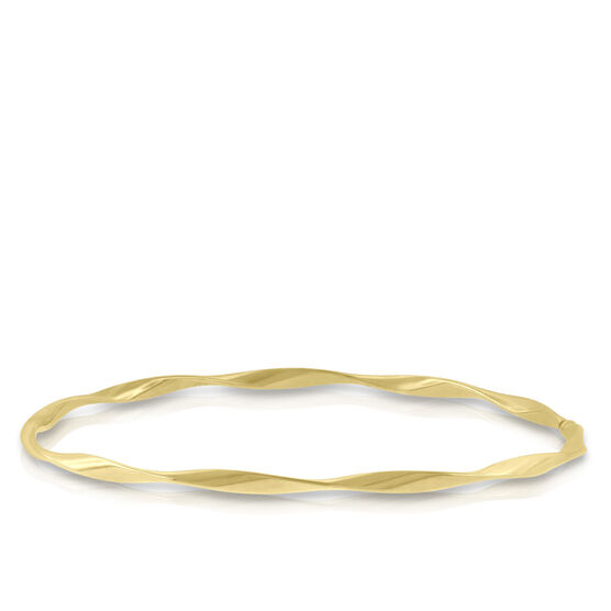 Yellow Gold Twisted Bangle Bracelet 14K