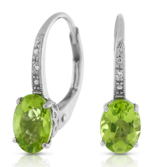 Peridot & Diamond Earrings 14K