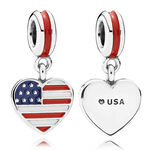 PANDORA US Heart Flag Charm