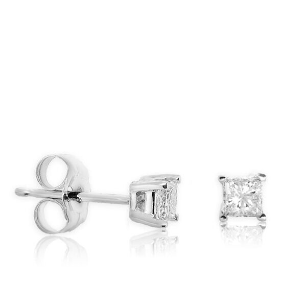 Princess Cut Diamond Earrings 14K, 1/3 ctw.