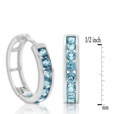 Blue Topaz Hoop Earrings 14K