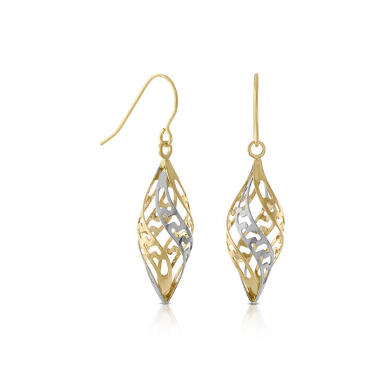 Twisted Dangle Earrings 14K