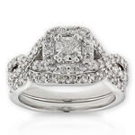 Cushion Cut Diamond Bridal Set 14K