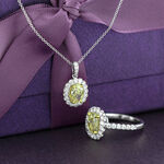Oval Yellow Diamond Pendant 18K