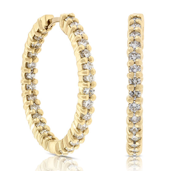 Roberto Coin Diamond Hoop Earrings 18K