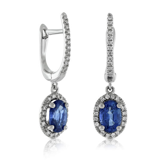 Dangle Sapphire & Diamond Earrings 14K
