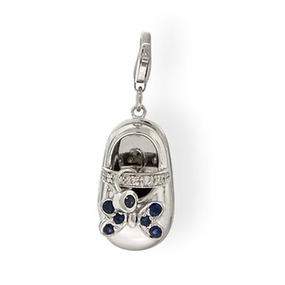 Baby Shoe Sapphire & Diamond Charm / Pendant 14K