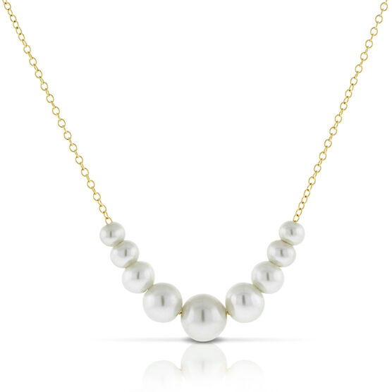 Floating Cultured Pearl Necklace 14K