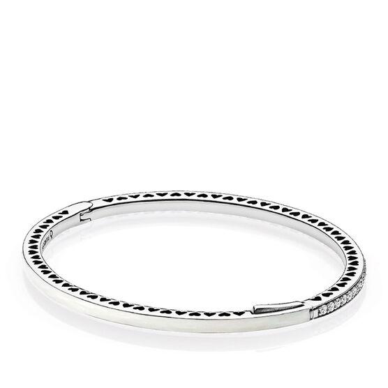 Radiant Hearts of PANDORA, Silver Enamel & CZ Bracelet