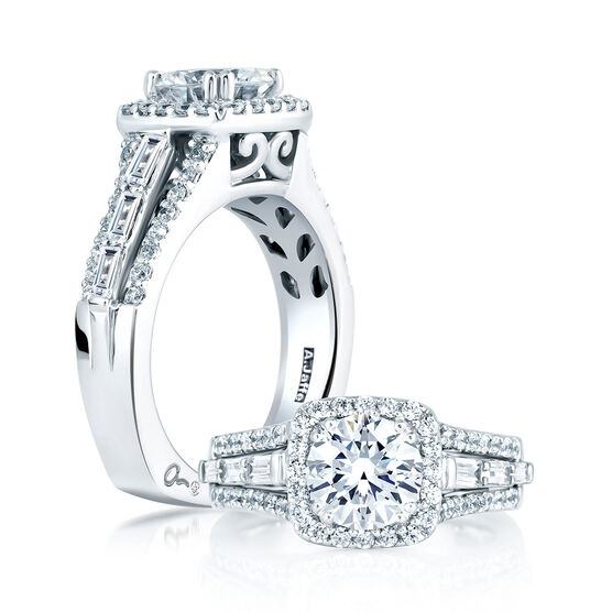 A.JAFFE Diamond Halo Semi-Mount Ring