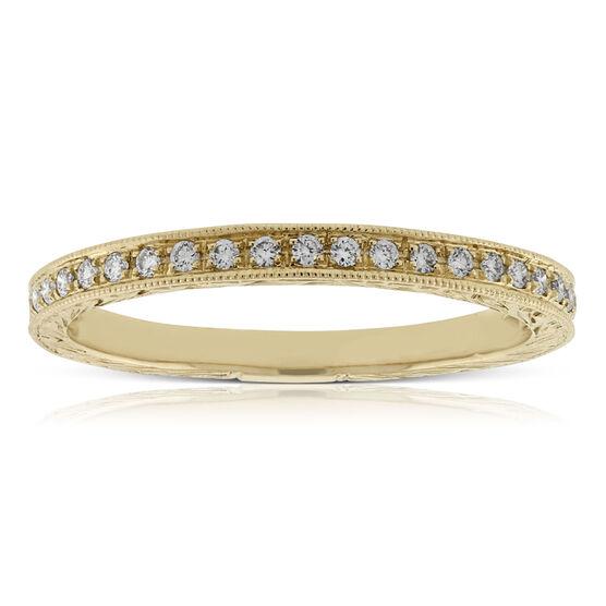 Pavé Diamond Engraved Band 14K
