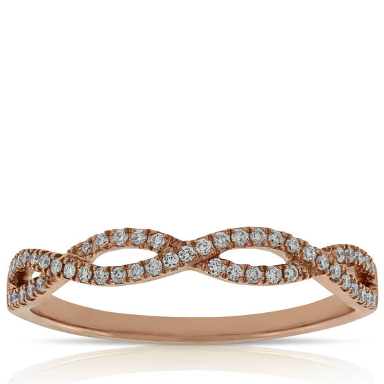 Rose Gold Braided Diamond Band 14K