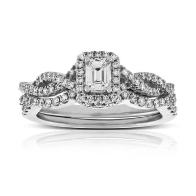emerald cut diamond wedding set 14k - Vintage Style Wedding Rings