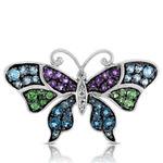 Gemstone Butterfly Ring 14K