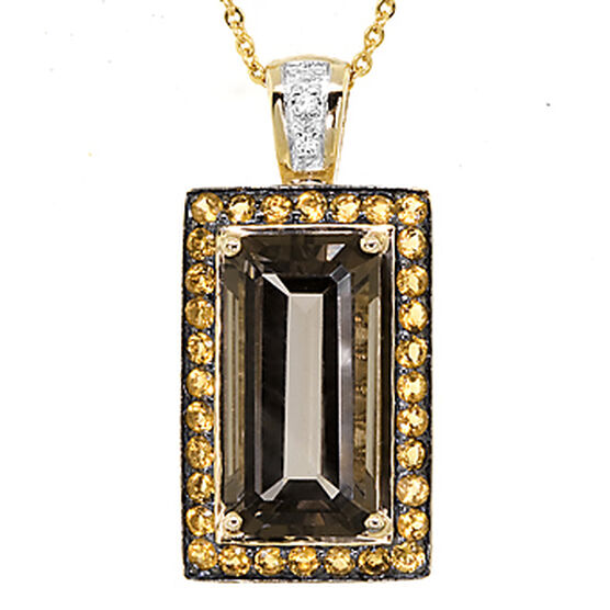Gemstone & Diamond Pendant 14K