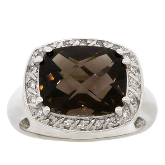 Smoky Quartz & Diamond Ring 14K
