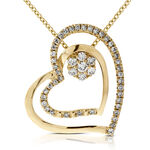 Two Piece Diamond Heart Pendant 14K