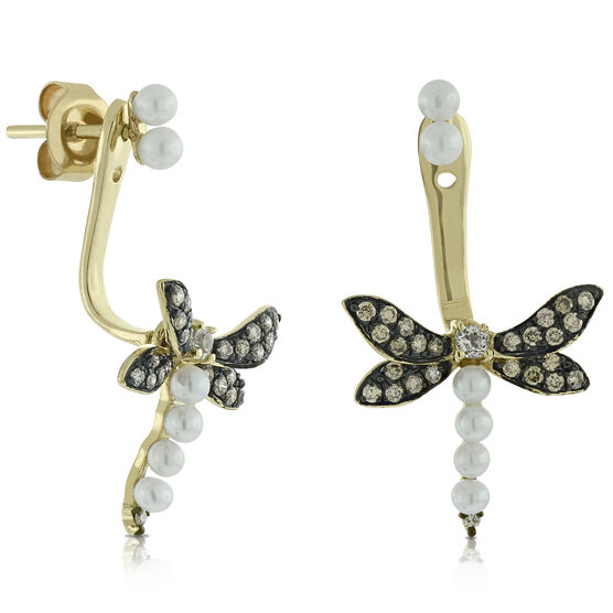 Brown Diamond, Peridot & Pearl Dragonfly Earrings 14K