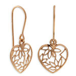 Rose Gold Heart Dangle Earrings 14K
