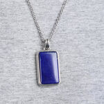 Men's Lapis Dog Tag in Sterling Silver