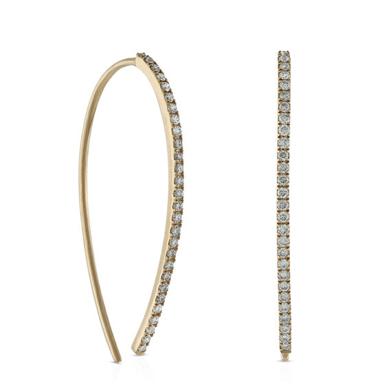 Open Hoop Diamond Earrings 14K