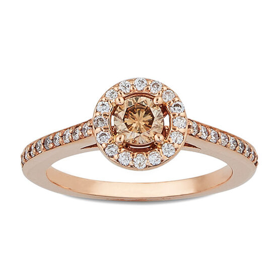 Brown & White Diamond Halo Ring 14K Rose