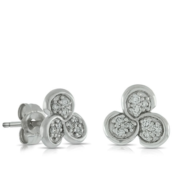 Triple Bezel Diamond Earrings 14K