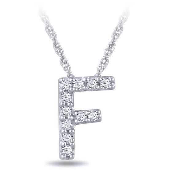 Diamond Initial Pendant 14K Letter 'F'