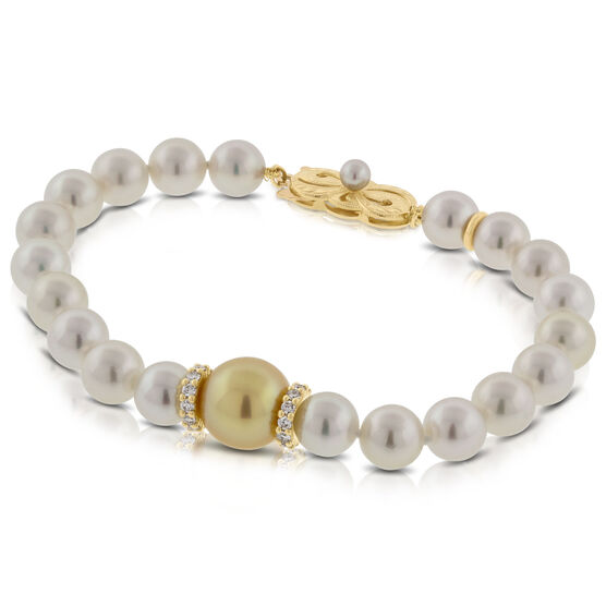 Mikimoto Akoya & Golden South Sea Cultured Pearl Bracelet 18K