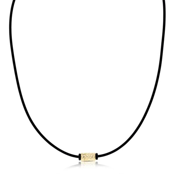 Rubber Cord Necklace with Gold Bead 14K