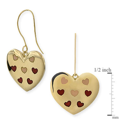 Enamel Heart Earrings 14K