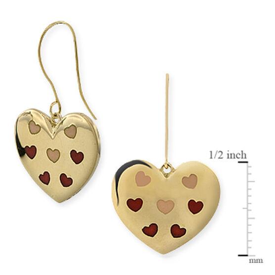 Enamel Heart Earrings 14K