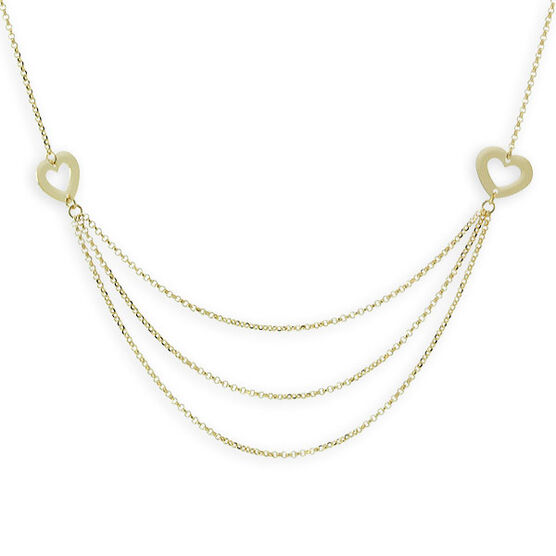 Heart & Chain Necklace 14K