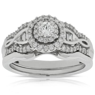 diamond bridal set 14k - Vintage Style Wedding Rings